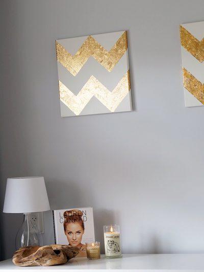 DIY Gold Leaf (bladgoud) Chevron Painting