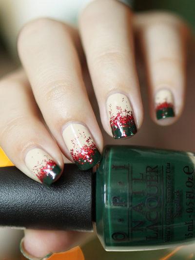 Christmas Glitter Gradient nail art