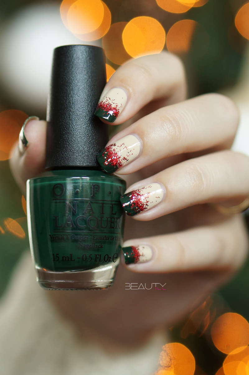 Christmas Gradient nail art