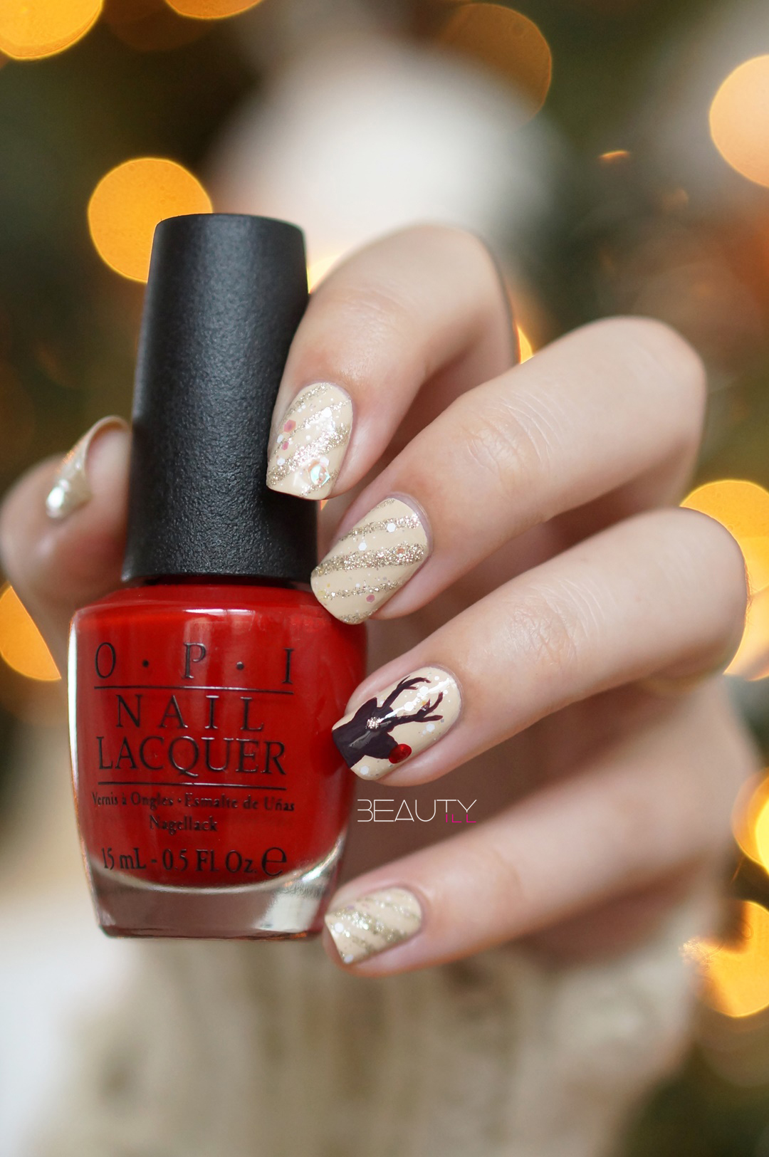 Christmas-nail-art-rendeer-opi-nude-brown-red-glitter-diy-beautyill (6)