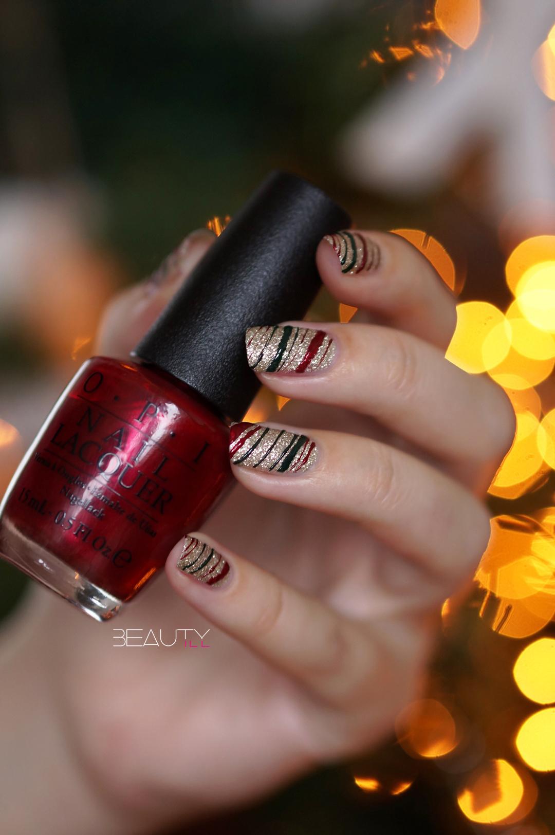 DIY Nail Art Easy Christmas Lines