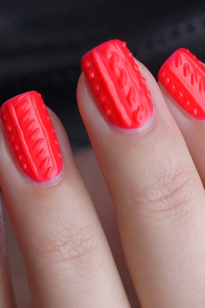 DIY 3D Cable Knit nail art