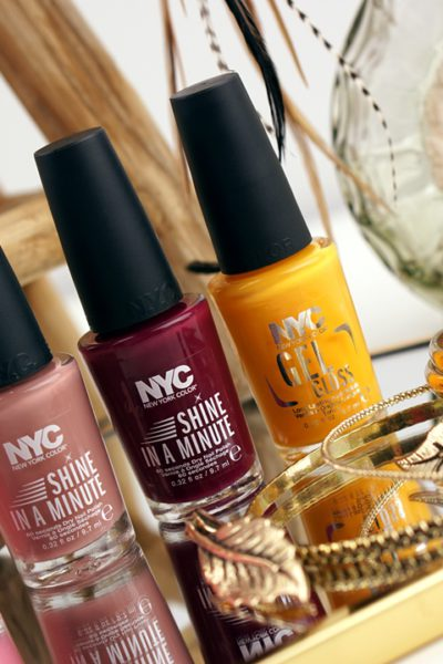 NYC Shine in a Minute & Gel Gloss swatches