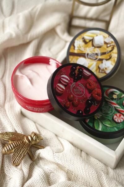 The Body Shop Peppermint Candy Cane, Berry Bon Bon & Vanilla Marshmallow body butter