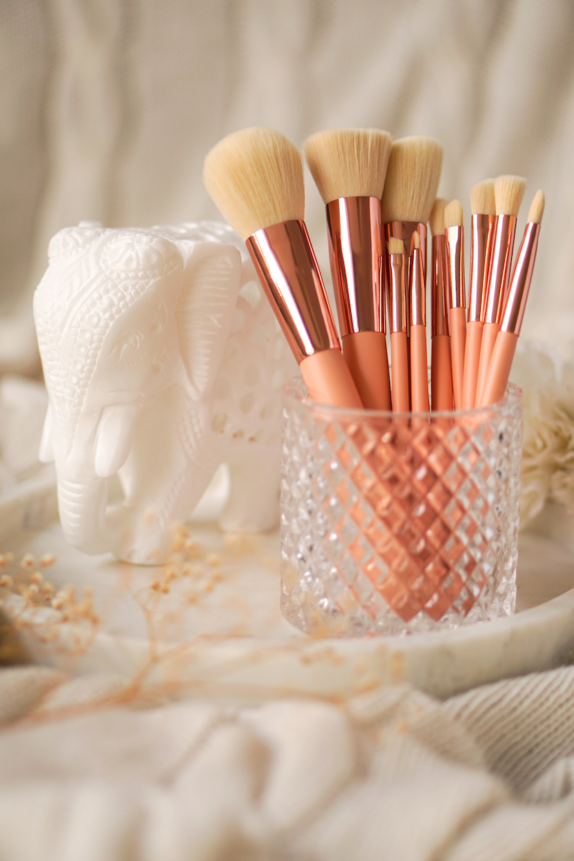 makeup brushes marble glass
