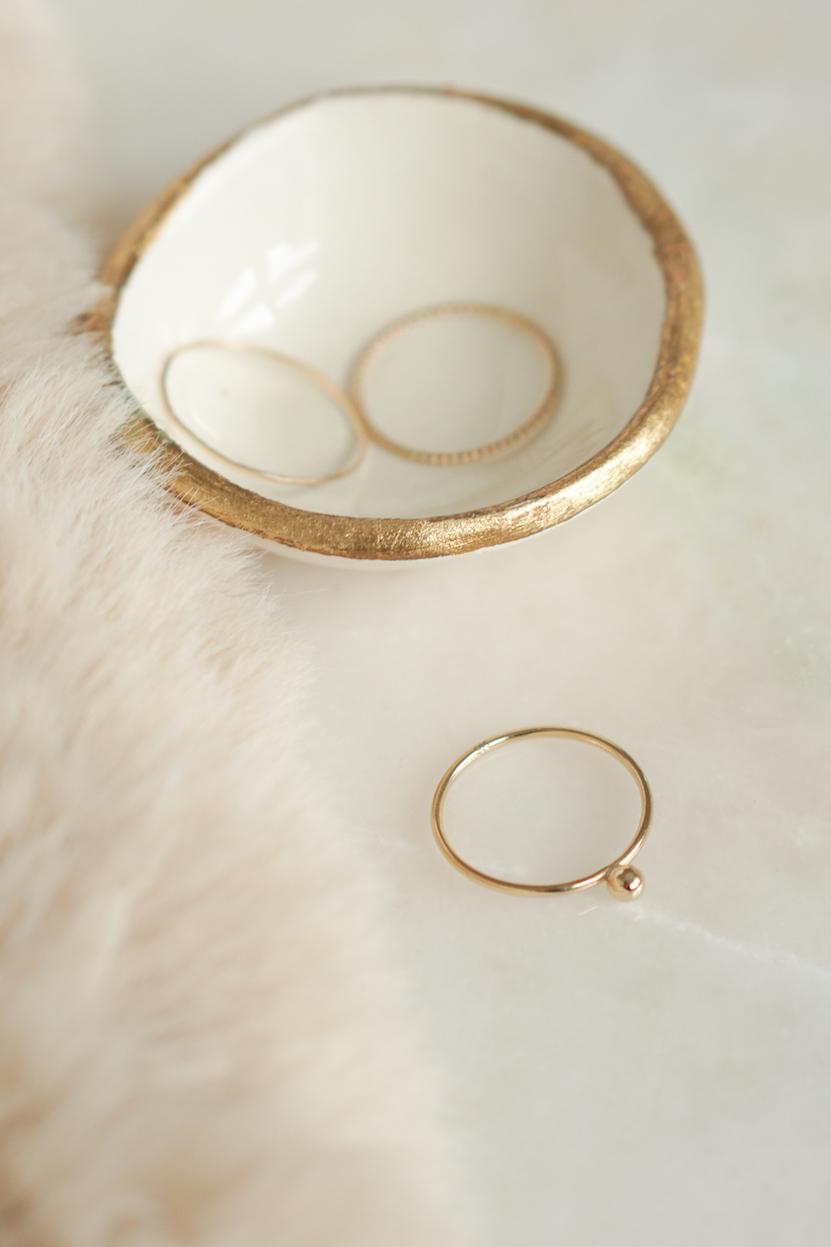 Lucardi 14 karaat geelgouden ring met 3mm bal