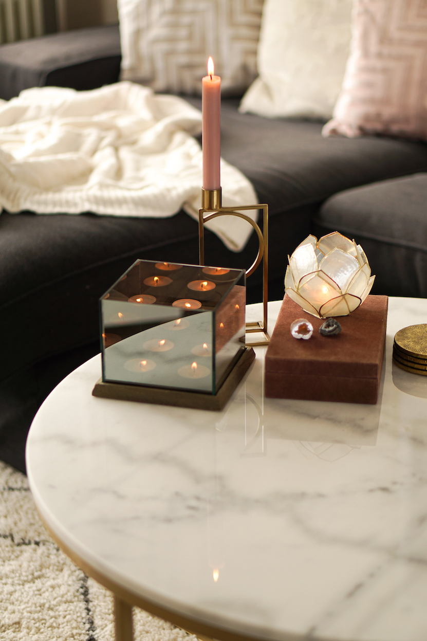coffee table inspiration candles and marble