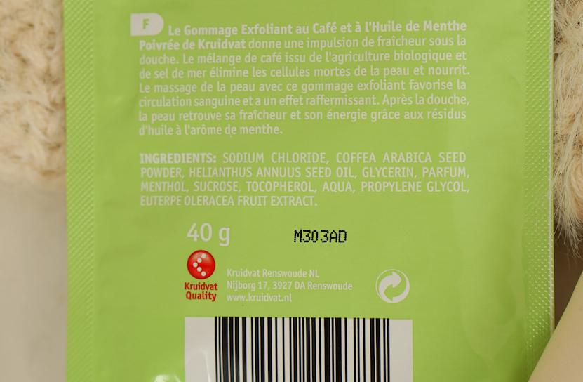 Coffee Scrub fresh mint ingrediënten