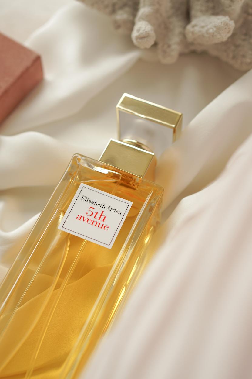 perfume bottle flatlay elizabeth arden