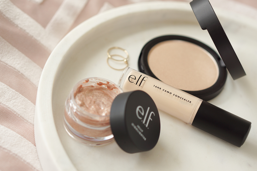 e.l.f. Shimmer Highlighting Powder, Jelly Highlighter & 16HR Camo Concealer.