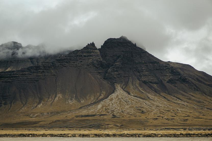 Iceland misty mountains