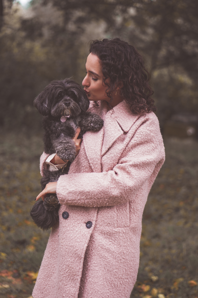 pink coat dog girl
