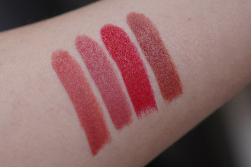 Rimmel swatches 100 Hella Pink, 200 Blush Touch, 520 Dat Red, 720 Snatched
