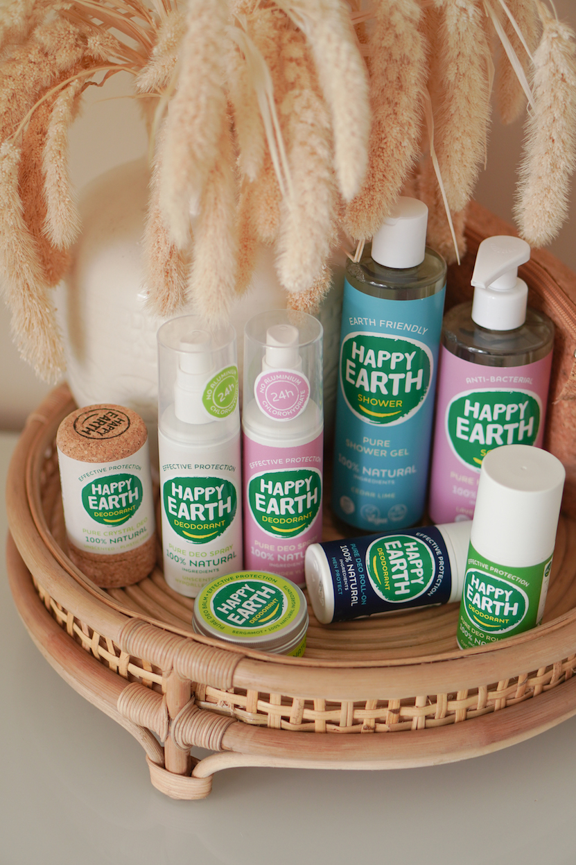 HAPPY EARTH deodorant, showergel en handzeep