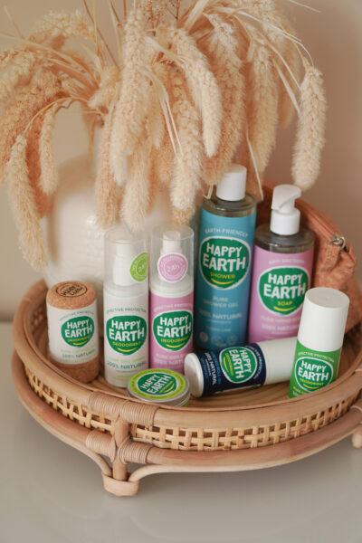 HAPPY EARTH deodorant, showergel en handzeep