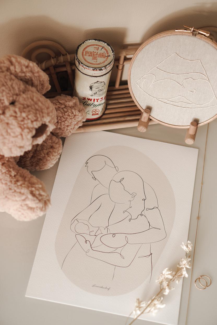 lijntekening lineart ultrasound embroidery echo borduren